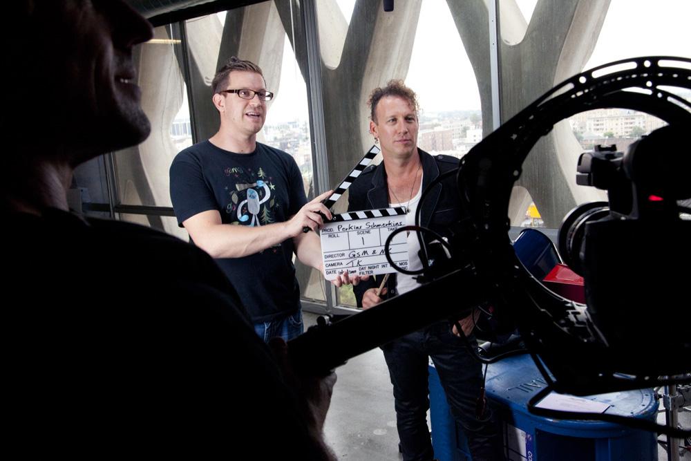 Director Geoffrey McNeil & Stephen Perkins about to shoot
